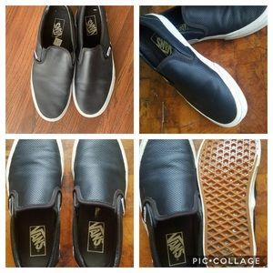 Vans Off The Wall Black Leather Slip On Sneakers